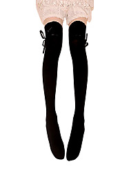 cheap -Thigh High Socks Socks / Long Stockings Classic Lolita Dress Lace-up Women's Black Lolita Accessories Lace Bowknot Stockings Cotton