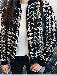 Недорогие -Жен. Повседневные На выход Зима Осень Обычная Куртка Круглый вырез, Уличный стиль Однотонный Шерсть