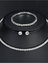 cheap -Women's Jewelry Set Bracelet / Earrings / Necklace - Basic / Elegant Silver For Wedding / Daily