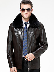Men's Casual/Daily Simple Vintage Fall Winter Leather Jacket,Solid Shirt Collar Long Sleeve Regular Lambskin