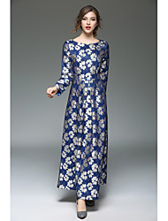 cheap -Women's Going out Street chic A Line Dress - Embroidered Lace Maxi / Fall / Winter