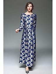 baratos -Mulheres Para Noite Moda de Rua Evasê Vestido - Renda, Bordado Longo / Outono / Inverno