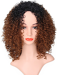 cheap -Synthetic Wig Jerry Curl Ombre Hair Brown Women's Capless Natural Wigs Long Synthetic Hair