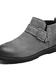 cheap -Men's Shoes Pigskin Winter Fall Fashion Boots Boots Booties/Ankle Boots Split Joint for Casual Black Dark Grey