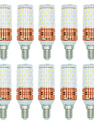 10pcs 12W E14 LED Corn Lights T 60 leds SMD 2835 Warm White White Dual Light Source Color 1000lm 3000-3500  6000-6500  3000-6500K AC