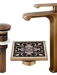 Set de centre Jet pluie Soupape céramique Mitigeur un trou Cuivre antique , Robinet lavabo