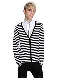 cheap -Men's Daily Regular Pullover,Solid Cowl Neck Long Sleeves Cotton Winter Fall Medium Micro-elastic