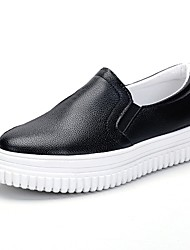 cheap -Women's Shoes Knit PU Fall Comfort Loafers & Slip-Ons Low Heel Round Toe For Casual Black White
