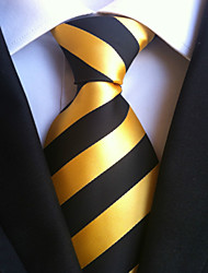 Men's Polyster Neck Tie,Striped Striped All Seasons Yellow