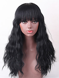 Women Human Hair Capless Wigs Medium Auburn Black Long Wavy Hot Sale
