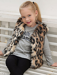 cheap -Girls' Leopard Jacket & Coat,Wool Rabbit Fur Raccoon Fur Winter Fall Sleeveless Brown