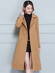 cheap -Women's Going out Street chic Winter Fall Coat,Solid Shirt Collar Long Sleeve Regular Cashmere Polyester