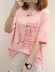 Women's Casual/Daily Simple Cute T-shirt,Animal Print Round Neck Short Sleeves Cotton