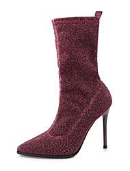 preiswerte -Damen Schuhe Stoff Winter Herbst Komfort Neuheit Pumps Stiefel Stöckelabsatz Mittelhohe Stiefel Reißverschluss für Hochzeit Normal Kleid