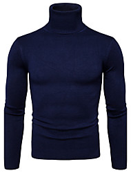 cheap -Men's Pullover - Solid Turtleneck