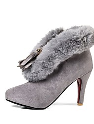 cheap -Women's Shoes Nubuck leather Winter Fashion Boots Boots Stiletto Heel Round Toe Booties/Ankle Boots For Casual Dress Blushing Pink Gray