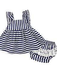cheap -Baby Girls' Daily Solid Colored Stripe Clothing Set