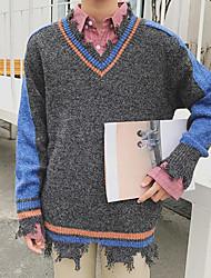 Standard Pullover Da uomo-Casual Monocolore A V Manica lunga Altro Primavera Inverno Medio spessore Media elasticità