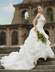 cheap -Princess Strapless Cathedral Train Organza Satin Wedding Dress with Pick-Up Side-Draped by LAN TING BRIDE®