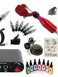 cheap -Starter Tattoo Kit 1 rotary machine liner & shader Tattoo Machine Mini power supply 7 × 15ml Tattoo Ink 5 x disposable grip