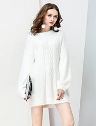 Standard Pullover Da donna-Per uscire Casual Semplice Moda città Sofisticato Tinta unita Rotonda Manica lunga Lana Acrilico Lana d'angora