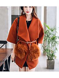 Для женщин На выход На каждый день Осень Зима Пальто Рубашечный воротник,Простой Однотонный Обычная Шерсть Полиэстер