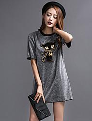 preiswerte -Damen T Shirt Kleid-Lässig/Alltäglich Tierfell-Druck Rundhalsausschnitt Übers Knie Kurzarm Polyester Sommer Mittlere Hüfthöhe
