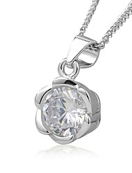 Women's Pendant Necklaces AAA Cubic Zirconia Round Flower Sterling Silver Zircon Fashion Simple Style Jewelry For Party Gift