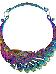 cheap -Women's Peacock Synthetic Diamond Pendant Necklace  -  Vintage Peacock Silver Rainbow Necklace For Party Daily