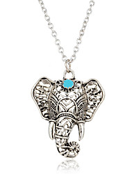 cheap -Women's Pendant Necklaces Turquoise Elephant Silver Plated Turquoise Animal Design Bohemian Jewelry For Casual Street