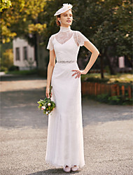 Sheath / Column Two Piece High Neck Floor Length Lace Charmeuse Wedding Dress with Beading Sash / Ribbon by LAN TING BRIDE®
