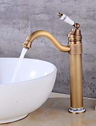 preiswerte -Mittellage Löwenfuß Keramisches Ventil Einhand Ein Loch Antikes Kupfer , Waschbecken Wasserhahn