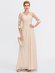 cheap -Sheath / Column V-neck Floor Length Chiffon Lace Mother of the Bride Dress with Lace Side Draping by LAN TING BRIDE®