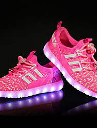 cheap -Girls' Shoes Knit Breathable Mesh Fall Winter Light Up Shoes Sneakers LED For Casual Party & Evening Light Green Blushing Pink Blue Black