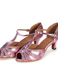 "Women's Latin Paillette Leatherette Heel Indoor Splicing High Heel Black Silver Blushing Pink 2"" - 2 3/4"" Customizable"