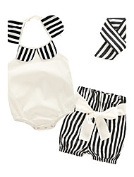 Baby Girls' Casual/Daily Striped Print Clothing Set,Floral Stripes Summer