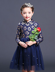 Girl's Solid Dress,Cotton Rayon Polyester Winter Fall Long Sleeve Vintage Party Elegant & Luxurious Navy Blue