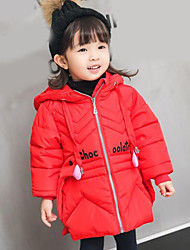 cheap -Girls' Solid Down & Cotton Padded Winter Fall Long Sleeve Black Red Blushing Pink Light Blue