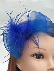 cheap -Tulle Net Headbands Fascinators Birdcage Veils with Feather 1 Wedding Special Occasion Event/Party Headpiece