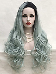 cheap -Synthetic Hair Wigs Loose Wave Lace Front Cosplay Wig Long Green