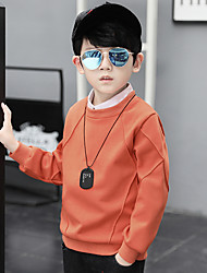 cheap -Boys' Solid Blouse, Cotton Winter Fall Long Sleeves Circular Green Orange Blushing Pink