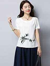cheap -Women's Daily Going out Chinoiserie Summer T-shirt,Embroidery Round Neck Short Sleeves Linen Medium