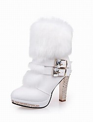 cheap -Women's Shoes PU Fur Winter Combat Boots Boots Chunky Heel Buckle For Office & Career Dress Black White