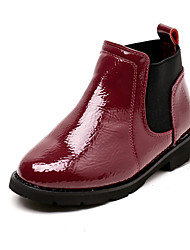 Girls' Shoes Patent Leather Fall Winter Fluff Lining Fashion Boots Bootie Boots Booties/Ankle Boots Gore For Wedding Dress Red Gray Black