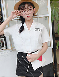 Damen Solide Einfach Lässig/Alltäglich T-Shirt-Ärmel Hose Anzüge,V-Ausschnitt Sommer Kurzarm
