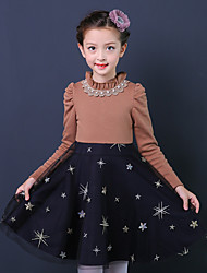 cheap -Girl's Birthday Going out Floral Patchwork Dress,Cotton Polyester Winter Fall Long Sleeve Princess Red Khaki