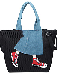 cheap -Women's Bags Canvas Tote Lace Pattern / Print for Shopping Casual All Seasons Black Gray