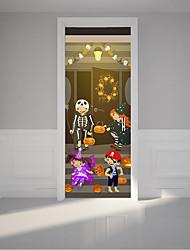 cheap -200x77cm 2pc/set PVC Skull Door Sticker Halloween Party Scared Pumpkin Wall Stickers 3D Cartoon Figures Four Kids Play Decal Home Decals