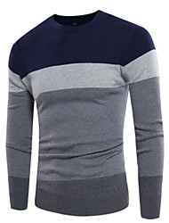 cheap -Men's Daily Regular Pullover,Color Block Round Neck Long Sleeves Others Winter Spring Medium Micro-elastic