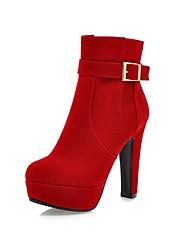 Для женщин Обувь Нубук Весна Осень Модная обувь Флисовая подкладка Ботинки На толстом каблуке Круглый носок Ботинки Пряжки Молнии